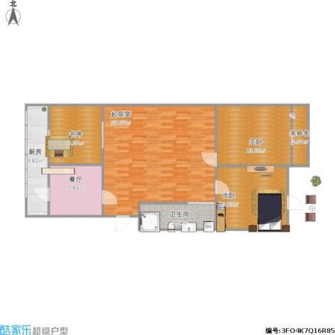 祥居公寓3室1厅1卫1厨124.00㎡户型图