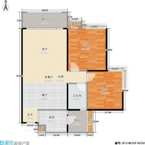 园丁梦苑2室1厅1卫1厨77.24㎡户型图