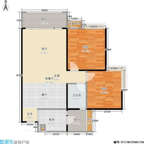 园丁梦苑2室1厅1卫1厨77.30㎡户型图