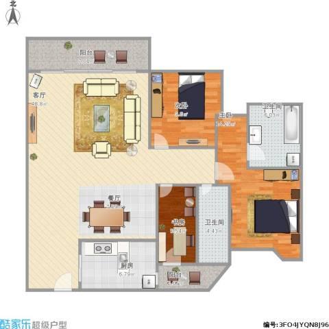雍逸廷A区3室1厅2卫1厨141.00㎡户型图