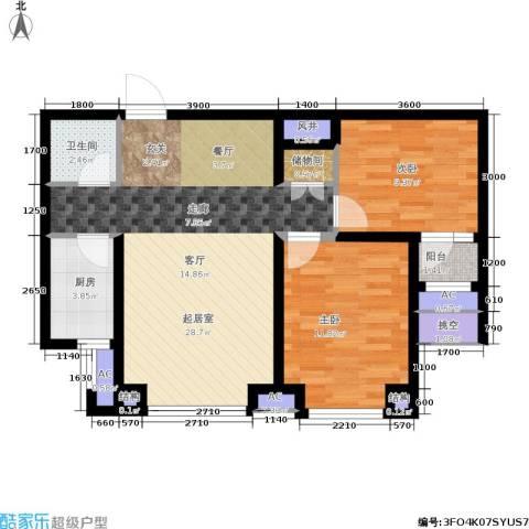 紫金苑2室0厅1卫1厨89.00㎡户型图