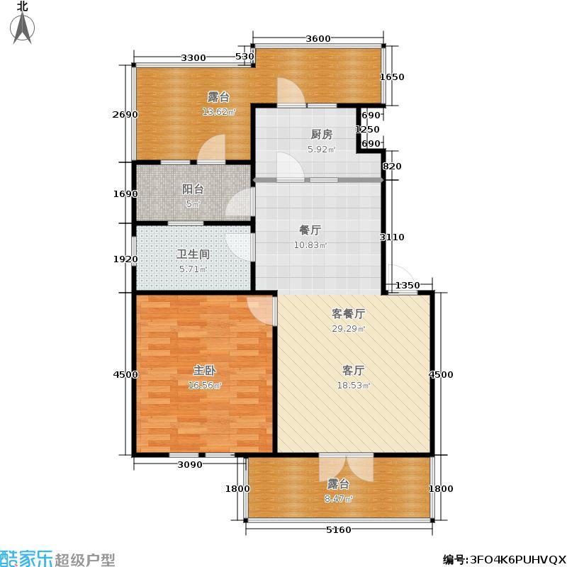 溪水湾52.79㎡项目阁楼户型图户型2室1厅1卫