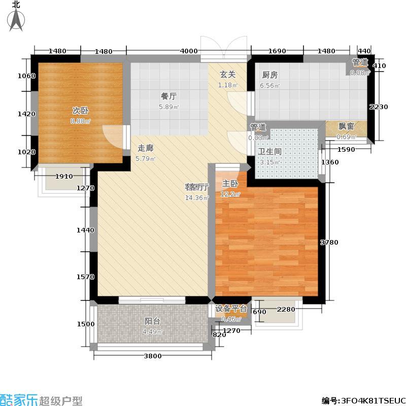 文景时代户型2室1厅1卫1厨