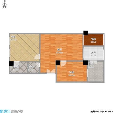 华信大厦3室1厅2卫1厨109.00㎡户型图