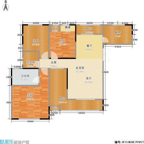 中豪城南时代3室0厅2卫1厨125.00㎡户型图
