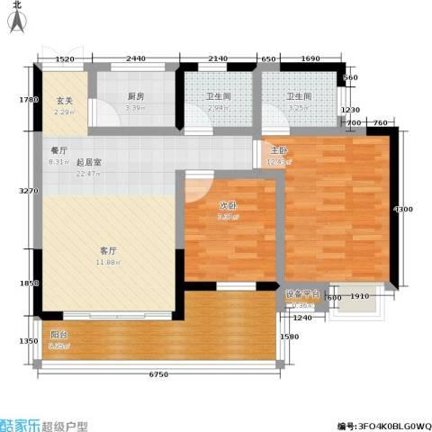 巴山星韵2室0厅2卫1厨91.00㎡户型图