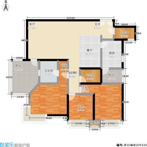 秀苑碧华庭居3室0厅3卫1厨149.00㎡户型图