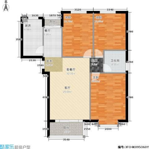 北港新城3室1厅1卫1厨100.00㎡户型图
