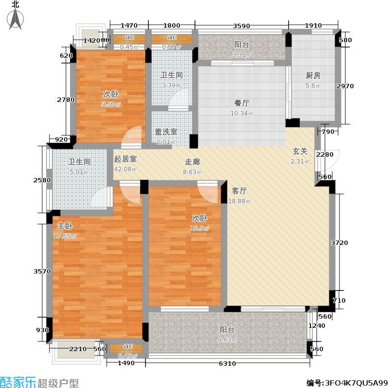 汉港凯旋城户型3室2卫1厨