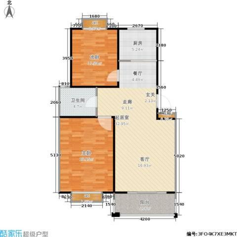 万汇秀林水苑2室0厅1卫1厨87.00㎡户型图
