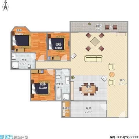 雍逸廷A区3室1厅2卫1厨175.00㎡户型图