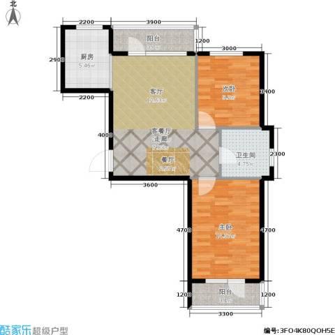中央华府2室1厅1卫1厨79.00㎡户型图
