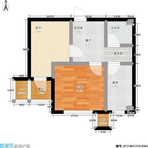中房上东花墅1室1厅1卫1厨46.00㎡户型图