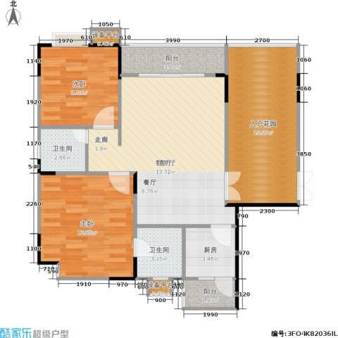 岳泰・理想城2室1厅2卫1厨86.00㎡户型图