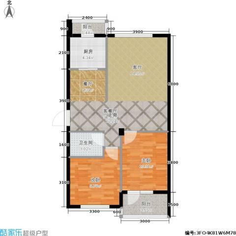 中央华府2室1厅1卫1厨77.00㎡户型图