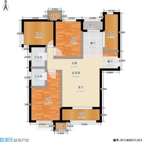 中景・盛世长安3室0厅2卫1厨138.00㎡户型图