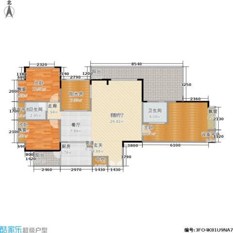 岳泰・理想城3室1厅2卫1厨166.00㎡户型图