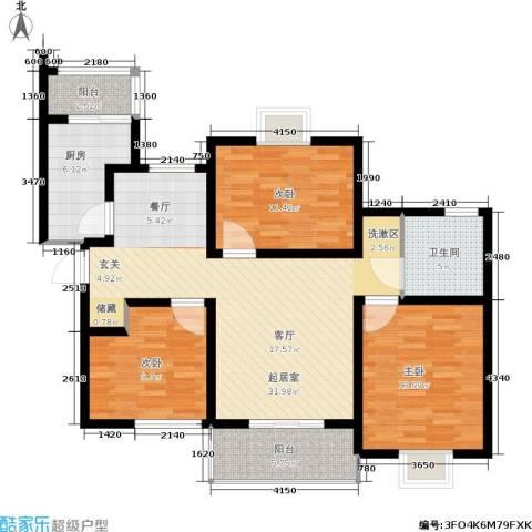 新梅绿岛苑3室0厅1卫1厨100.00㎡户型图