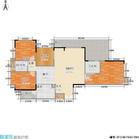 岳泰・理想城3室1厅2卫1厨157.00㎡户型图