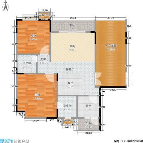 岳泰・理想城2室1厅2卫1厨102.00㎡户型图