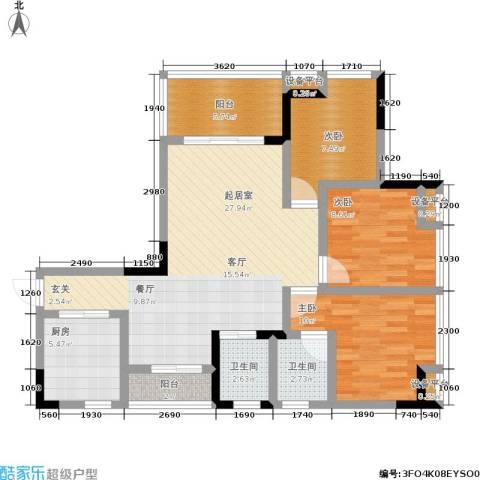 斌鑫中央时代3室0厅2卫1厨112.00㎡户型图