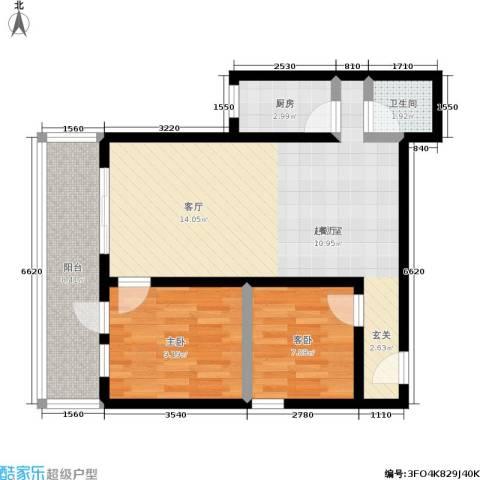 黄桷印象2室0厅1卫1厨67.00㎡户型图