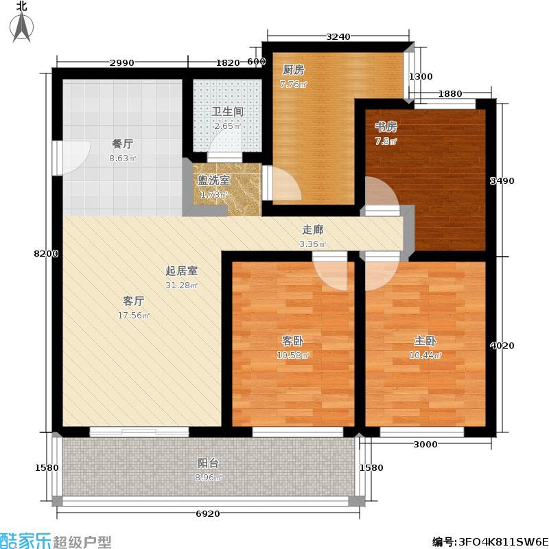 黄桷印象户型3室1卫1厨