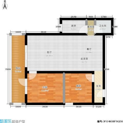 黄桷印象2室0厅1卫1厨98.00㎡户型图