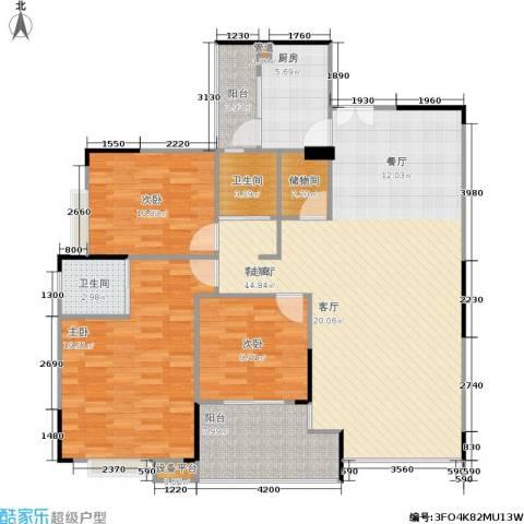 岳泰・理想城3室1厅2卫1厨152.00㎡户型图
