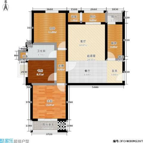 中景・盛世长安3室0厅1卫1厨119.00㎡户型图