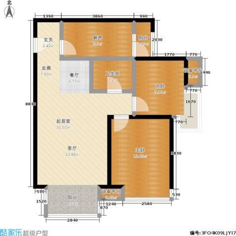 瞰海2室0厅1卫1厨78.00㎡户型图