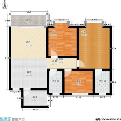 学府佳园3室0厅2卫1厨100.00㎡户型图