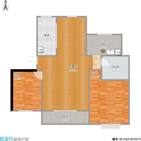 招商海德名门2室1厅1卫1厨121.00㎡户型图