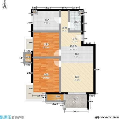 中景・盛世长安2室0厅1卫1厨77.00㎡户型图