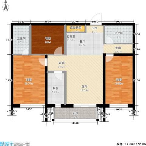 昊天家园3室0厅2卫1厨120.00㎡户型图