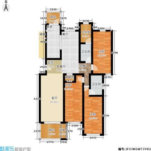东兰兴城惠兰苑3室1厅3卫1厨151.00㎡户型图