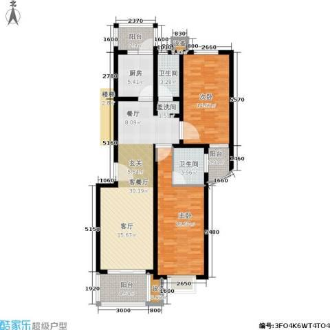 东兰兴城惠兰苑2室1厅2卫1厨125.00㎡户型图