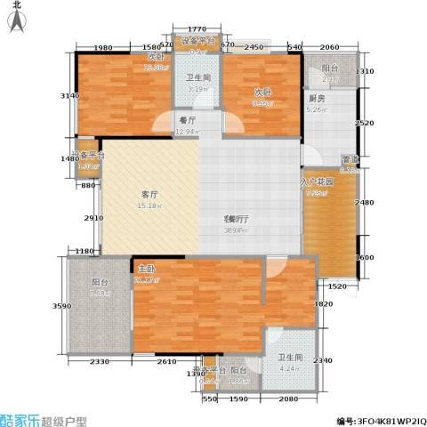 岳泰・理想城3室1厅2卫1厨127.00㎡户型图