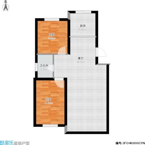 华亨名城2室1厅1卫1厨90.00㎡户型图