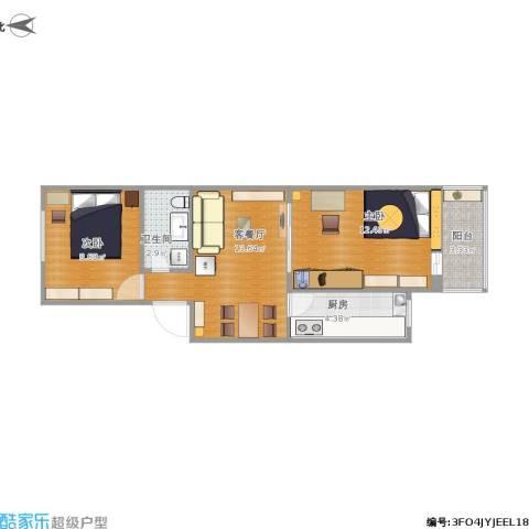 马南里小区2室1厅1卫1厨60.00㎡户型图