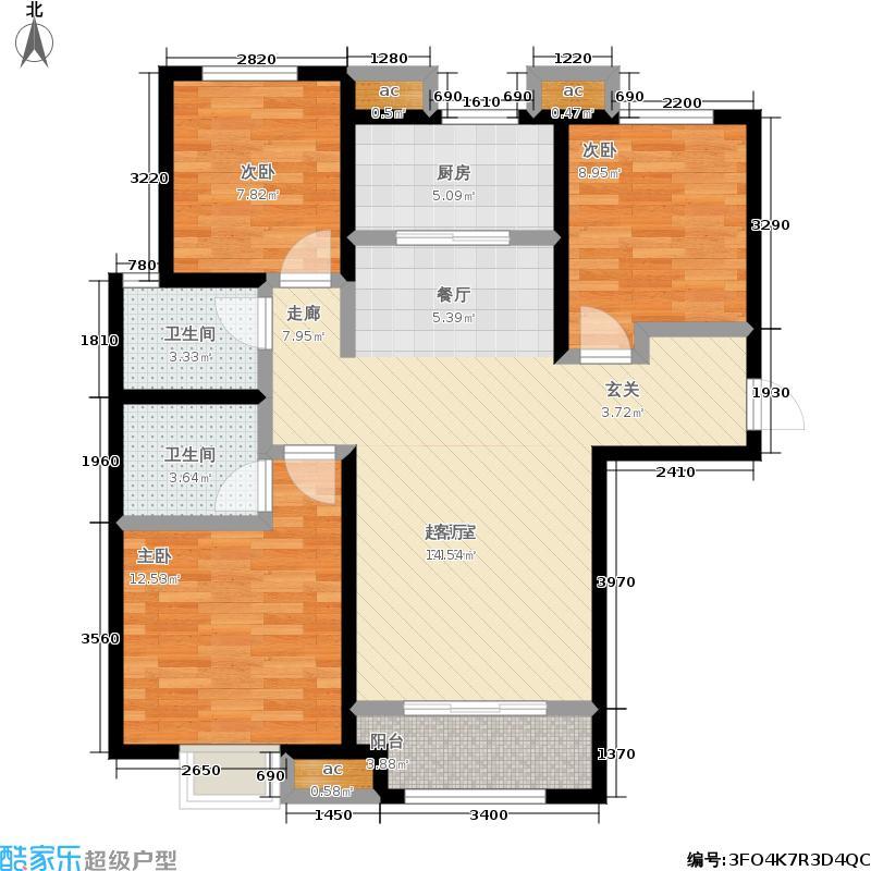 世茂・原山首府户型3室2卫1厨