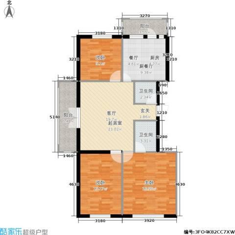 江畔方元新区3室0厅2卫0厨85.23㎡户型图