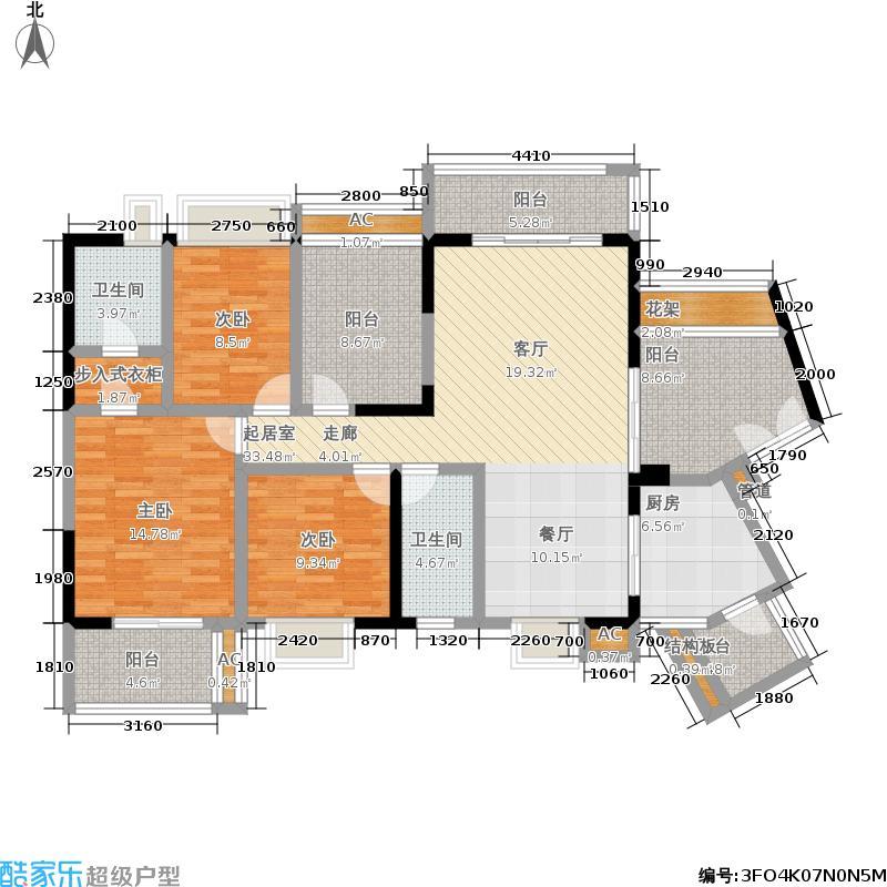 凯旋MIMA金泓凯旋城1011栋A座A单元3室户型