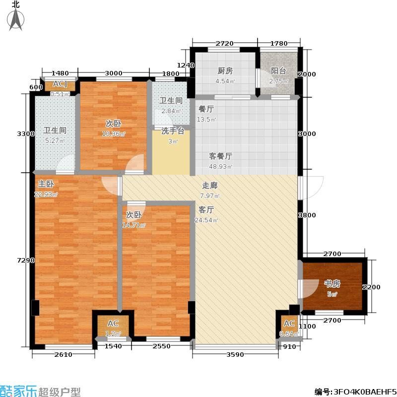 第五大道花园户型4室1厅2卫1厨