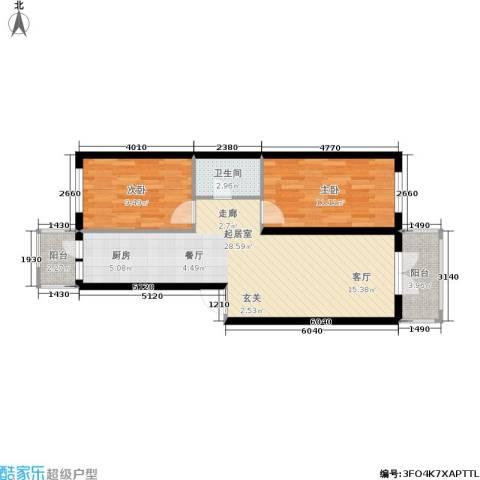 江畔方元新区2室0厅1卫0厨58.38㎡户型图