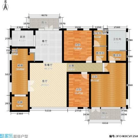 塞纳维拉3室1厅2卫1厨167.00㎡户型图