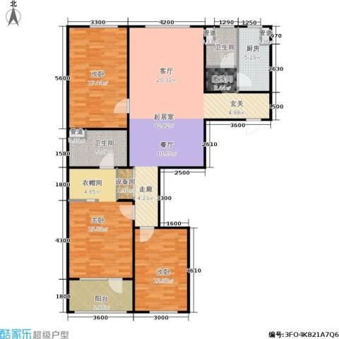 朗诗国际街区3室0厅2卫1厨114.13㎡户型图
