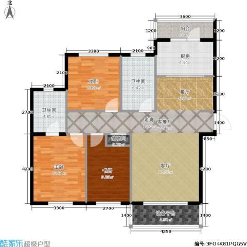 中央华府3室1厅2卫1厨122.00㎡户型图