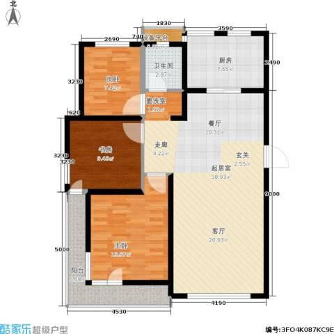 格林春晓3室0厅1卫1厨124.00㎡户型图