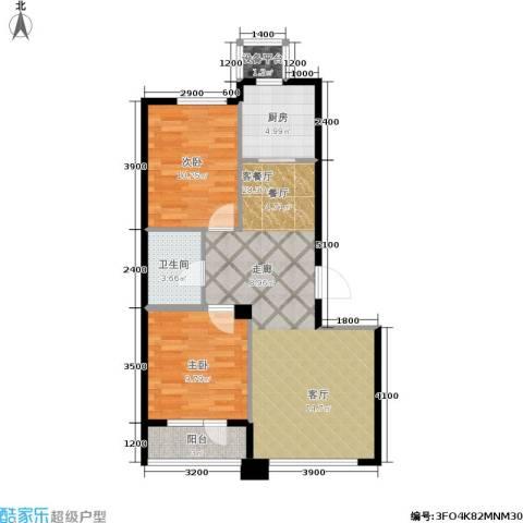 中央华府2室1厅1卫1厨83.00㎡户型图